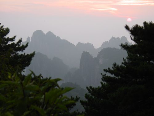 Loving Kindness contemplation. Picture of mountains in China