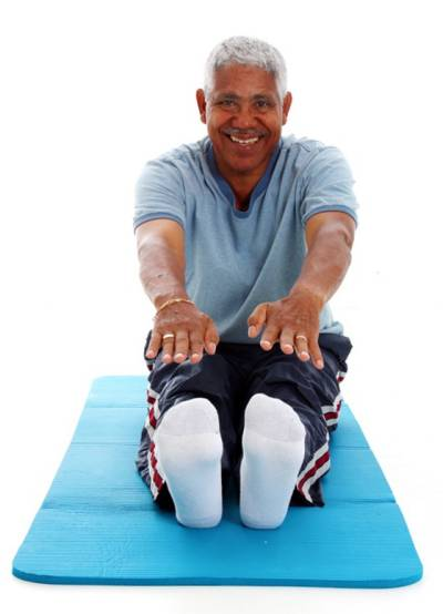 Seven tips for staying young and healthy. Picture of man exercising