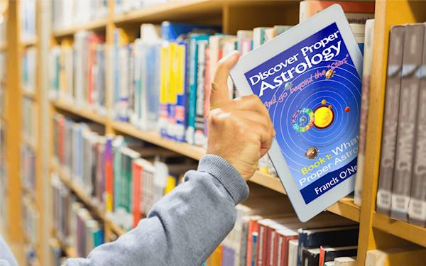 Discover Proper Astrology | bookshelf tablet image